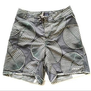 NW0T Patagonia Grey Board Shorts in Leaf Pattern